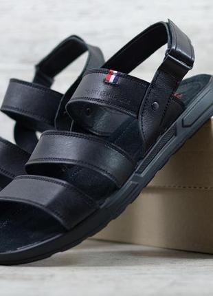 Базовые повседневные  кожаные мужские босоножки сандалии. люкс...
