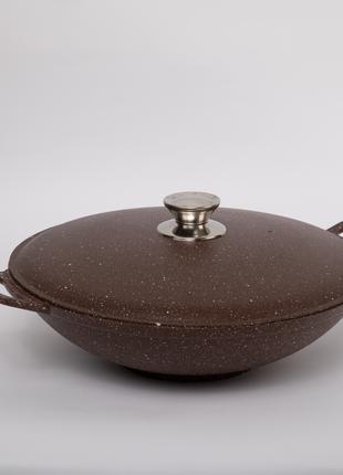 Сковорода ВОК c алюминиевой крышкой и антипригарным покрытием