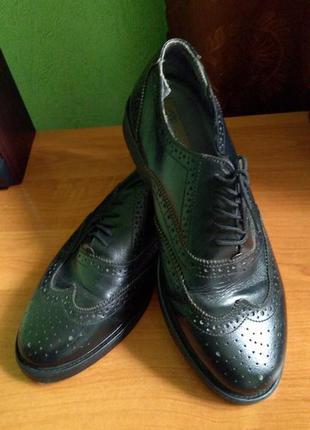 Sale туфли кожаные мужские, черные оксфорды, броги, р.41.