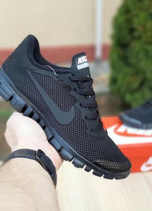 Шикарные мужские летние кроссовки nike free run 3.0 черные