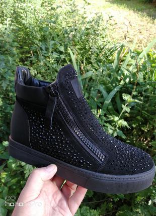 Ботинки из натуральной замши женские