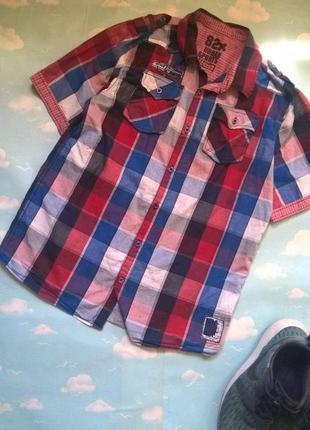 Рубашка с коротким рукавом, на мальчика 12-13 лет.
