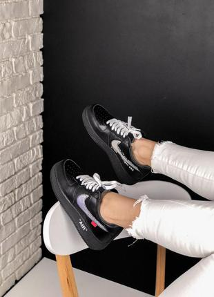 Кроссовки nike air force 1 black silver off white