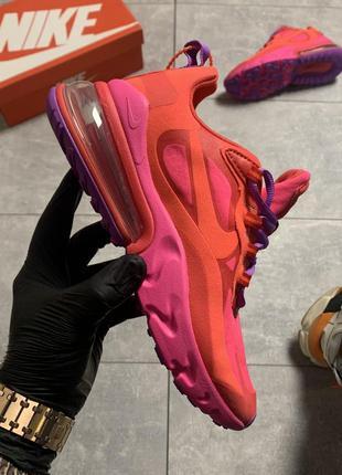 Женские кроссовки nike air max 270 react pink orange