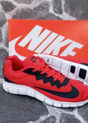 Кроссовки мужские nike free run 5.0 красные,сетка,спортивные