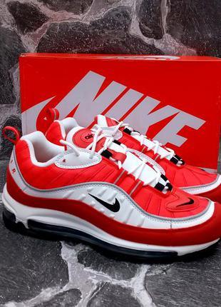 Мужские кроссовки nike air max 98 красные с белым,кожа и сетка