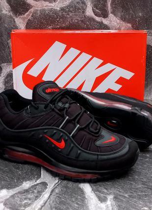 Кроссовки мужские nike air max 98 черные,кожа и сетка