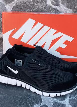 Nike free run 3.0 сетка,черные с белым,мужские кроссовки