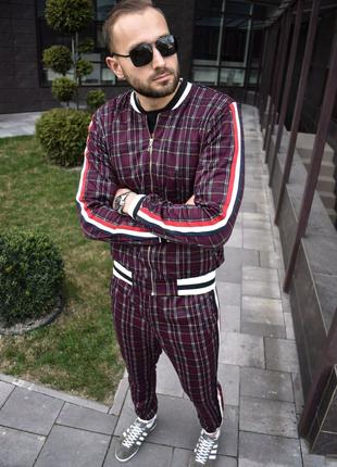 Мужской спортивный костюм бордовый костюм в стиле Джентельменов