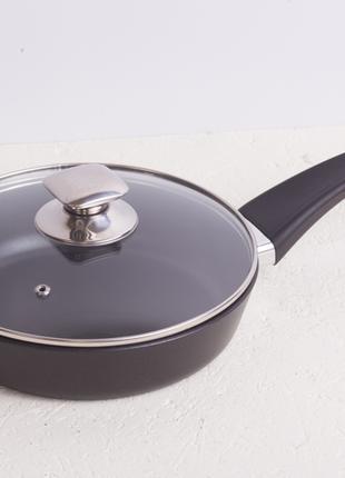 Сковорода со стеклянной крышкой и антипригарным покрытием, 22 см