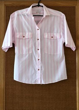 Актуальна сорочка в полоску з янтарними ґудзиками