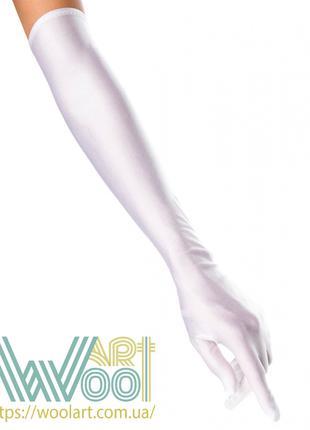 Атласные длинные белые перчатки глянцевые блестящие