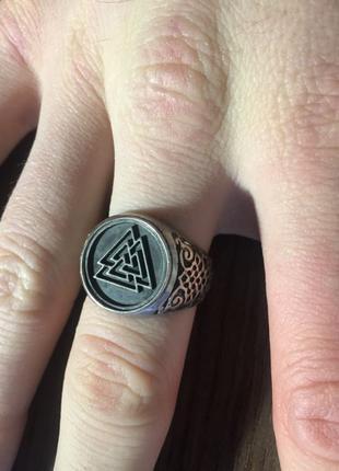 мужское кольцо Валькнут викинги
