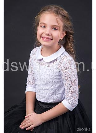 Блузка из гипюра для девочки «Флора» 122-134