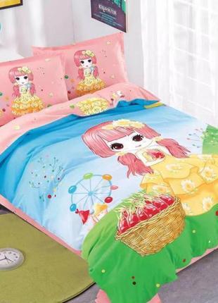Модный полуторный комплект постельного для девочки с большим р...