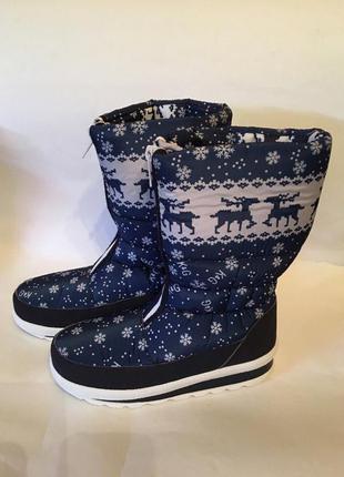 Сапоги женские аляска с оленями хит продаж все размера, синие