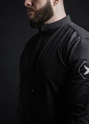 Рубашка мужская черная с воротником стойкой hardlinestorm Japan