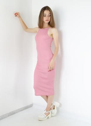 Missguided розовое миди платье в рубчик ниже колена, трендове ...