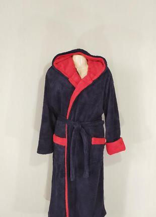 Мужской махровый халат с капюшоном на запах