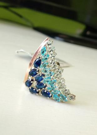 Эксклюзивное кольцо серебро с золотом