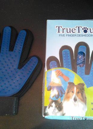 Рукавиця для вичісування шерсті true touch (перчатка от шерсти...