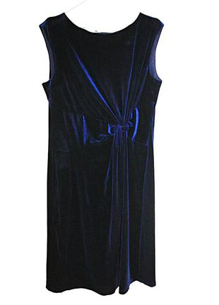 Велюровое темно-синее платье с узлом велюр вечернее на выпускн...
