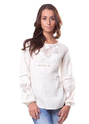 Вышиванка женская лен. блуза туника. размер xl. молочная
