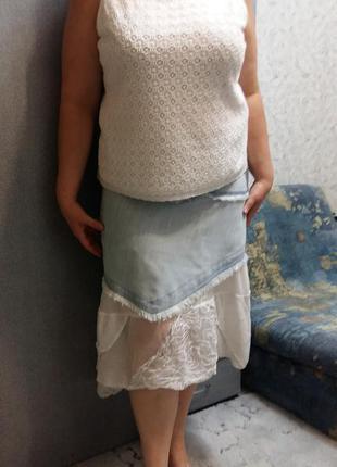 Стильная джинсовая юбка большой размер