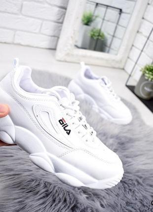 Белые женские кроссовки в стиле fila, фила на стильной подошве