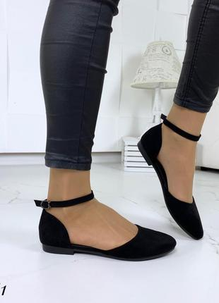 Черные балетки, летние босоножки с ремешком 41р-26,5 см