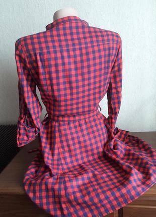 Платье в клетку с вышивкой роза