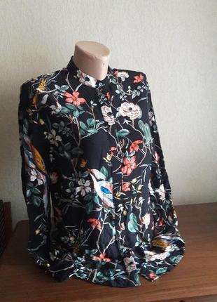 Блуза warehouse р. 8с принтом цветы и птицы