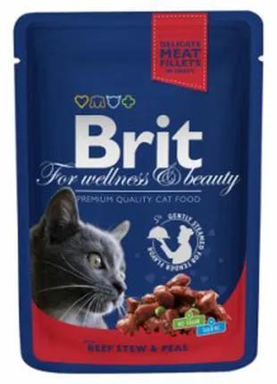 Влажный корм для котов Brit Premium Cat Pouches говядина/горошек