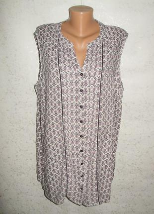 Натуральная удлиненная вискозная блуза на пуговицах в принт 20...