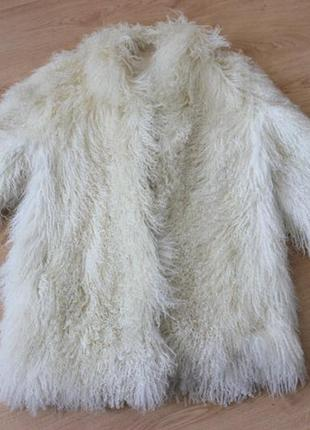 Шуба полушубок натуральная лама натуральный мех айвори белая н...