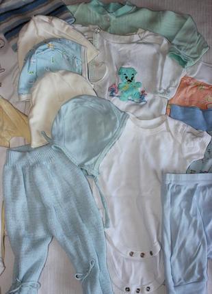 Пакет детских вещей мальчик 0-3 мес 62 лот одежды весна лето ч...