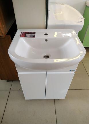 Тумба для ванной с умывальником 50см белая