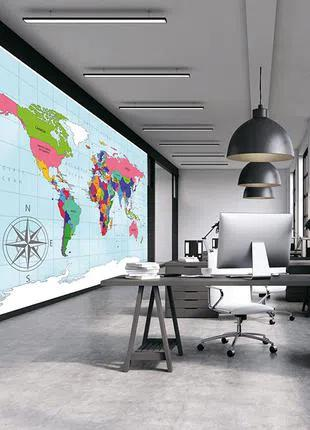 Обои карта мира с 3Д и рельефом в офис, кабинет на стену