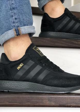 Отличные мужские кроссовки adidas iniki чёрные