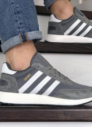 Стильные мужские кроссовки adidas iniki серые