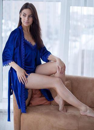 Бархатная женская домашняя одежда комплект халат и пижама с шо...
