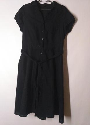 Платье летнее лен и хлопок льняное черное на пуговицах платье-...