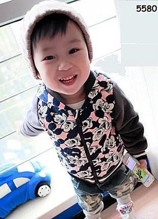 Теплая велюровая кофта Mickey Mouse для мальчика. 80-120 см (5580