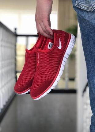 Стильные мужские кроссовки nike free run 3.0 красные