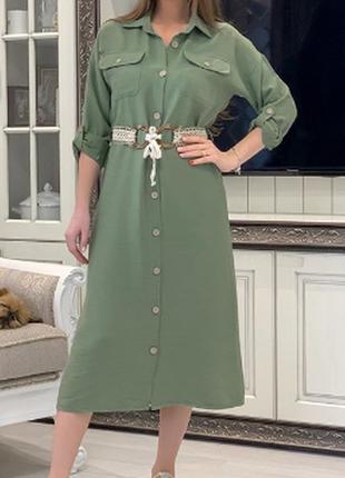 Платье рубашка с поясом в цвете хаки