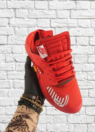 Крутые демисезонные кроссовки nike air huarache off-white red