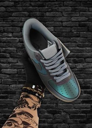 Мужские стильные кроссовки nike air force 1 low green violet.