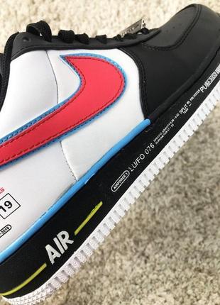 Мужские стильные кроссовки nike air force 1 low black white red.