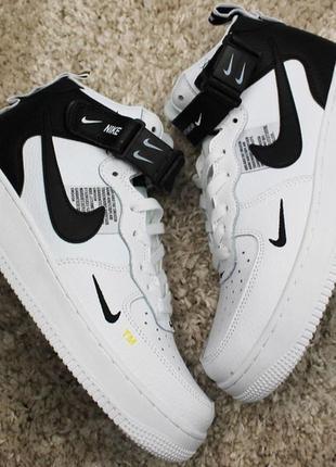 Мужские демисезонные кроссовки nike air force 1 high white black.