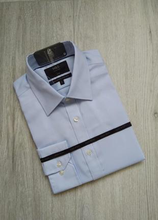 Рубашка marks & spencer с длинным рукавом приталенная размер 4...